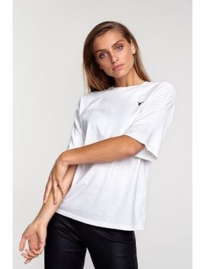 ALIX THE LABEL LADIES KNITTED BULL T-SHIRT SOFT WHITE