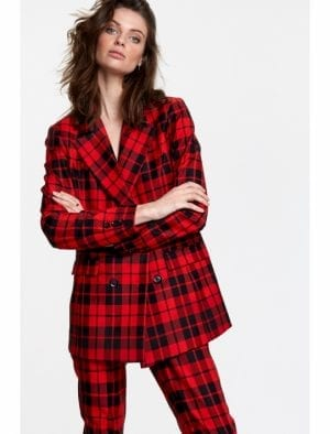 ALIX THE LABEL LADIES WOVEN CHECK BLAZER