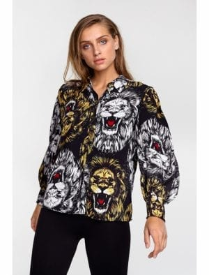 ALIX THE LABEL LADIES WOVEN LION BLOUSE
