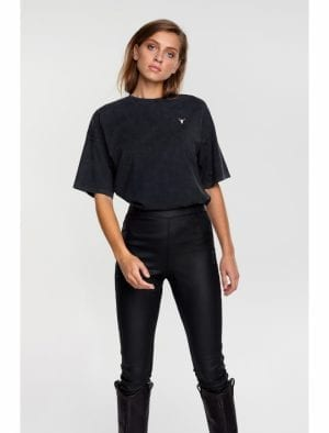 ALIX THE LABEL LADIES KNITTED BULL T-SHIRT BLACK