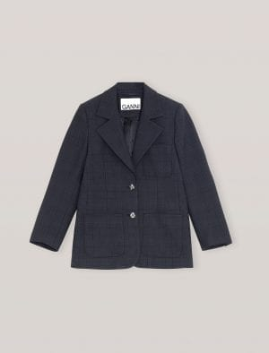 GANNI FITTED BLAZER NAVY/STRIPE