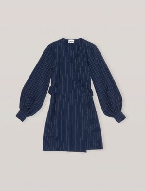 GANNI MINI DRESS NAVY/STRIPE