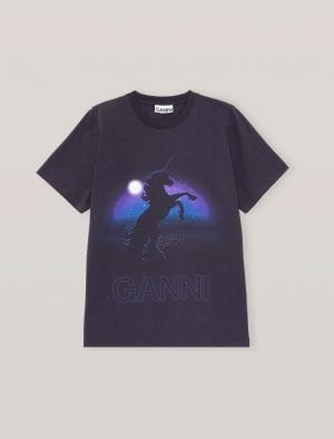GANNI T-SHIRT UNICORN DARK