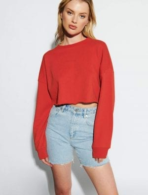 ABRAND OVERSIZED CROP SWEATHER RUST RED