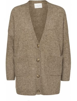 NORR SALT CARDIGAN LIGHT BROWN MELANGE
