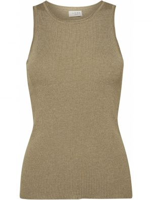NORR FLORA KNIT TOP LIGHT BROWN MELANGE