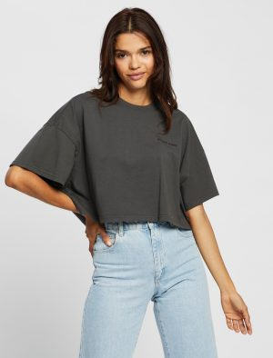 ABRAND CROPPED OVERSIEZED TEE BLACK FADE