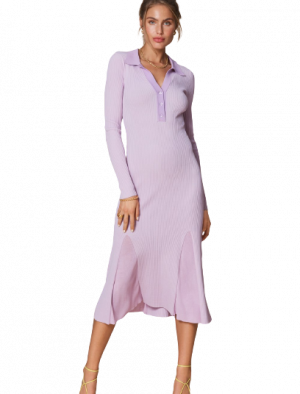 ADOORE COLLAR KNITTED DRESS LILAC