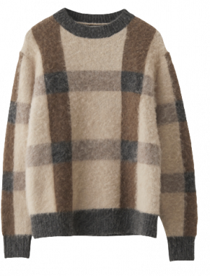 NORR ANLY KNIT TOP BROWN CHECK